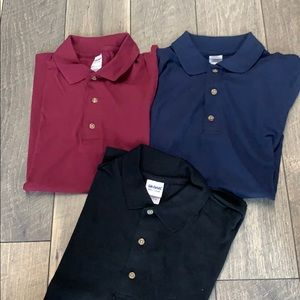 A set of men's Gildan Ultra Cotten polos.